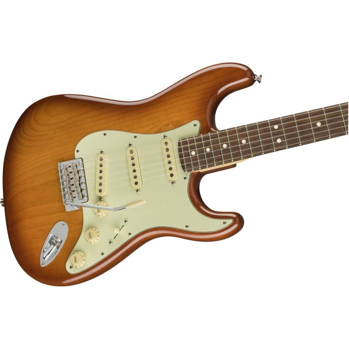 Front angled view of a Fender American Performer Stratocaster RW Honey Burst