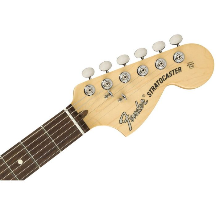 Front view of the headstock on a Fender American Performer Stratocaster RW Honey Burst