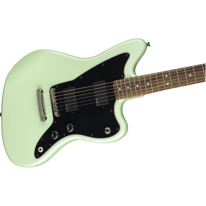 Front angled view of a Squier Contemporary Active Jazzmaster HH ST Surf Pearl