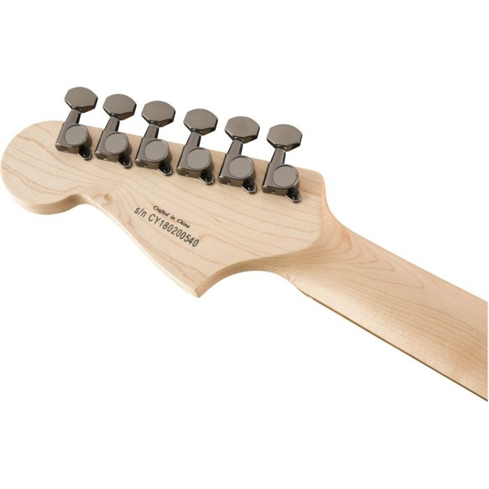 Rear view of the headstock on a Squier Contemporary Active Jazzmaster HH ST Surf Pearl