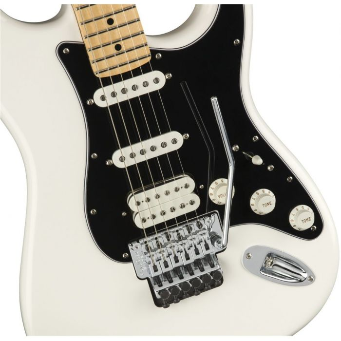 Closeup front view of a Fender Player Stratocaster FR HSS MN Polar White