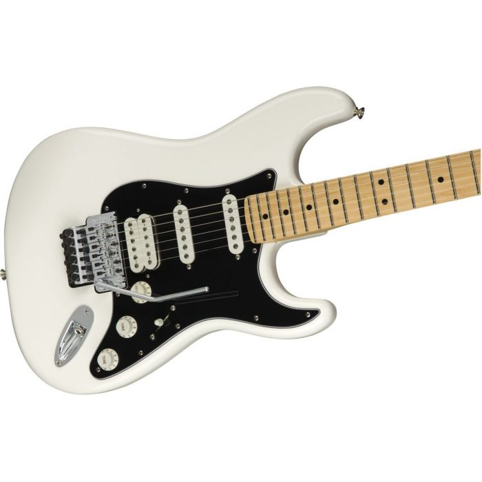 Front angled view of a Fender Player Stratocaster FR HSS MN Polar White