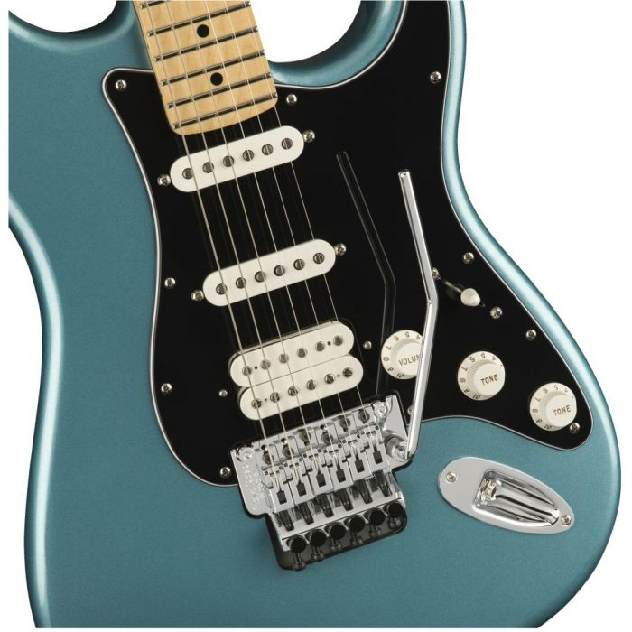 Front closeup view of a Fender Player Stratocaster FR HSS MN Tidepool
