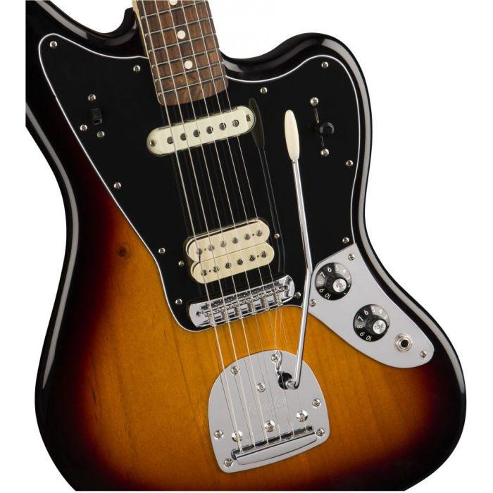 Front closeup view of a Fender Player Jaguar PF 3-Color Sunburst