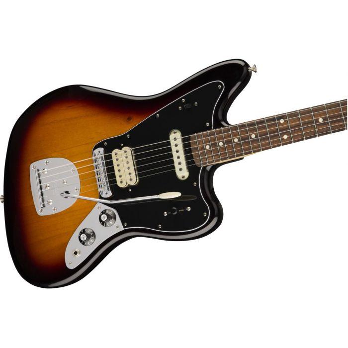 Front angled view of a Fender Player Jaguar PF 3-Color Sunburst