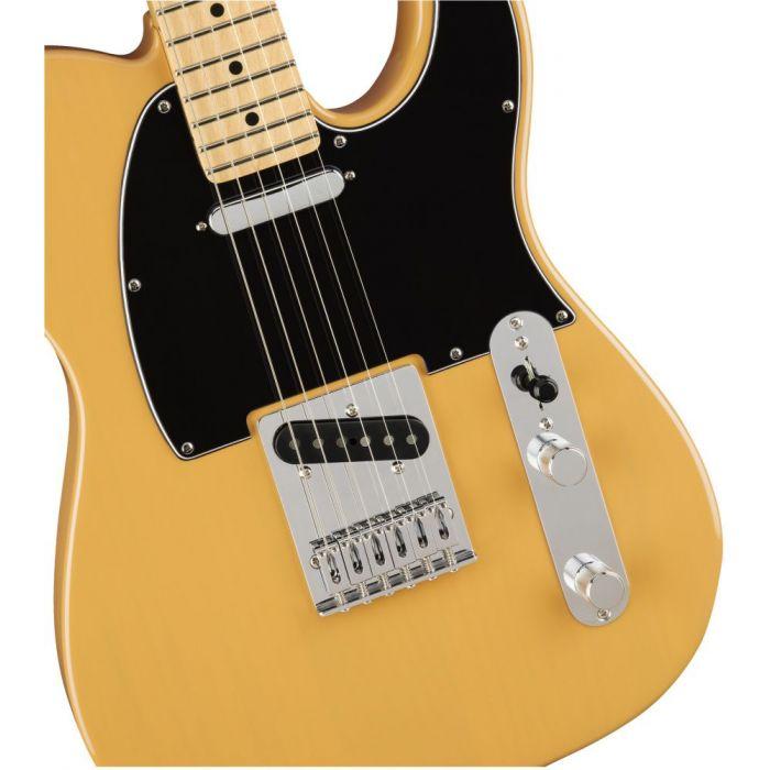 Front closeup view of a Fender Player Telecaster MN Butterscotch Blonde