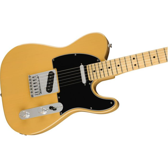 Front angled view of a Fender Player Telecaster MN Butterscotch Blonde