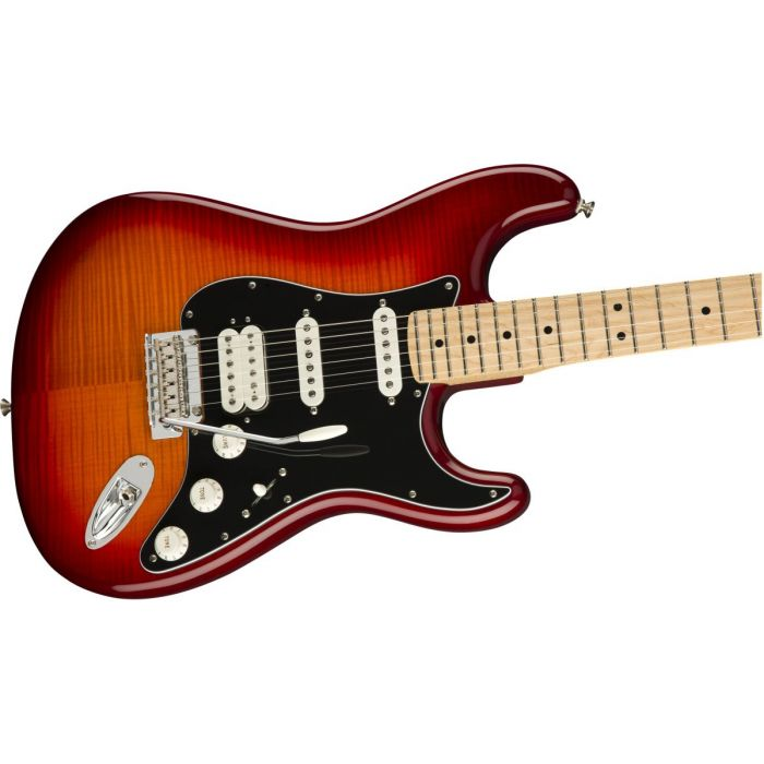 Front angled view of a Fender Player Stratocaster HSS Plus Top MN Aged Cherry Burst