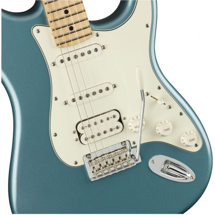 Front closeup view of a Fender Player Stratocaster HSS MN Tidepool