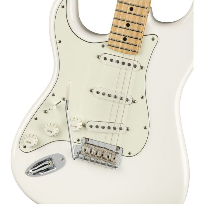 Front closeup view of a Fender Player Stratocaster LH MN Polar White