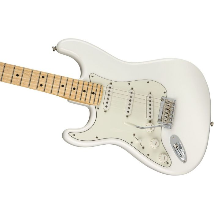 Front angled view of a Fender Player Stratocaster LH MN Polar White