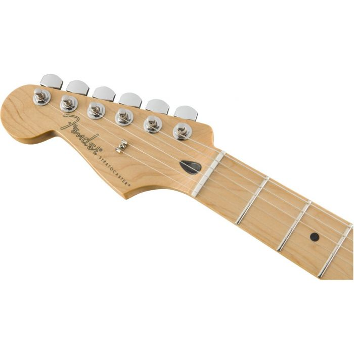 Front view of the headstock on a Fender Player Stratocaster LH MN Polar White