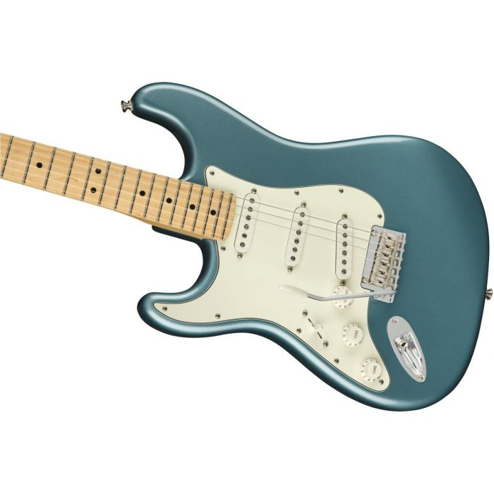 Front angled view of a Fender Player Stratocaster LH MN Tidepool