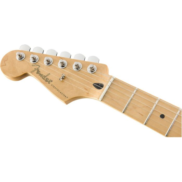 Front view of the headstock on a Fender Player Stratocaster LH MN Tidepool