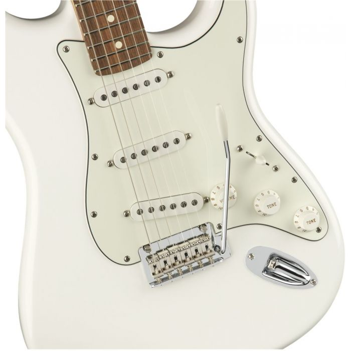 Closeup front view of a Fender Player Stratocaster PF Polar White