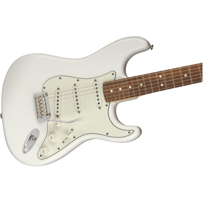 Front angled view of a Fender Player Stratocaster PF Polar White