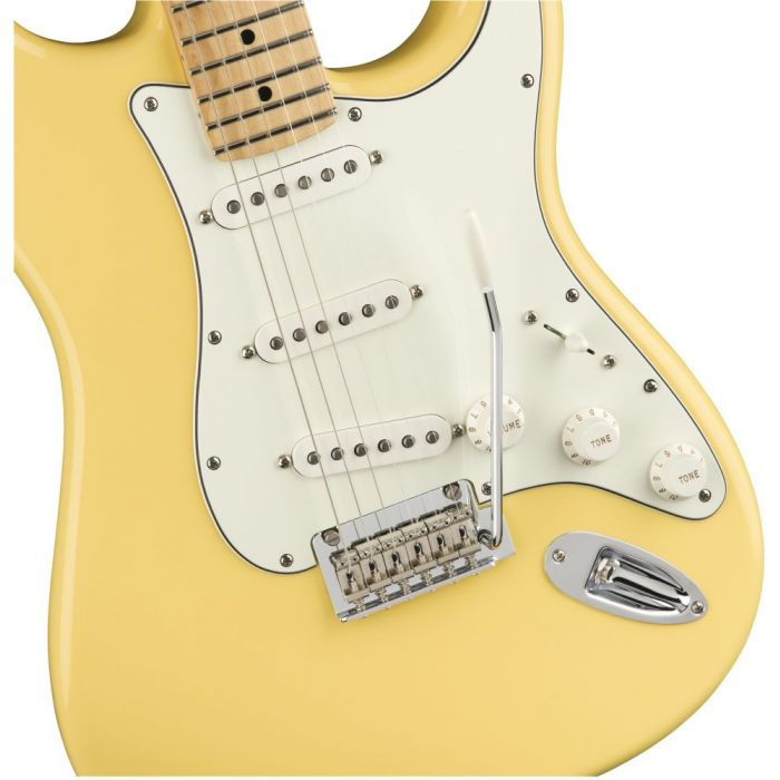 Front closeup view of a Fender Player Stratocaster MN Buttercream