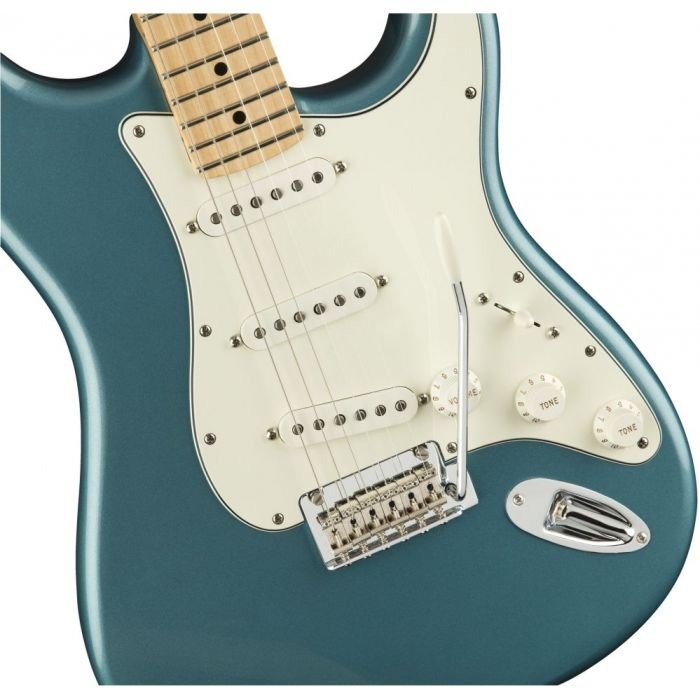 Closeup front view of a Fender Player Stratocaster MN Tidepool