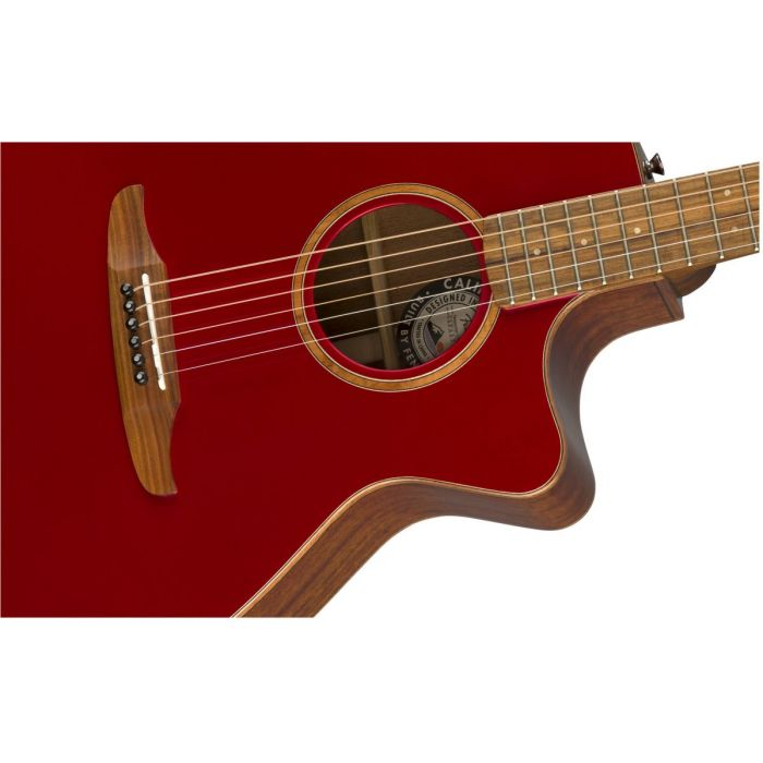 Closeup front view of a Fender Newporter Classic Hot Rod Red Metallic