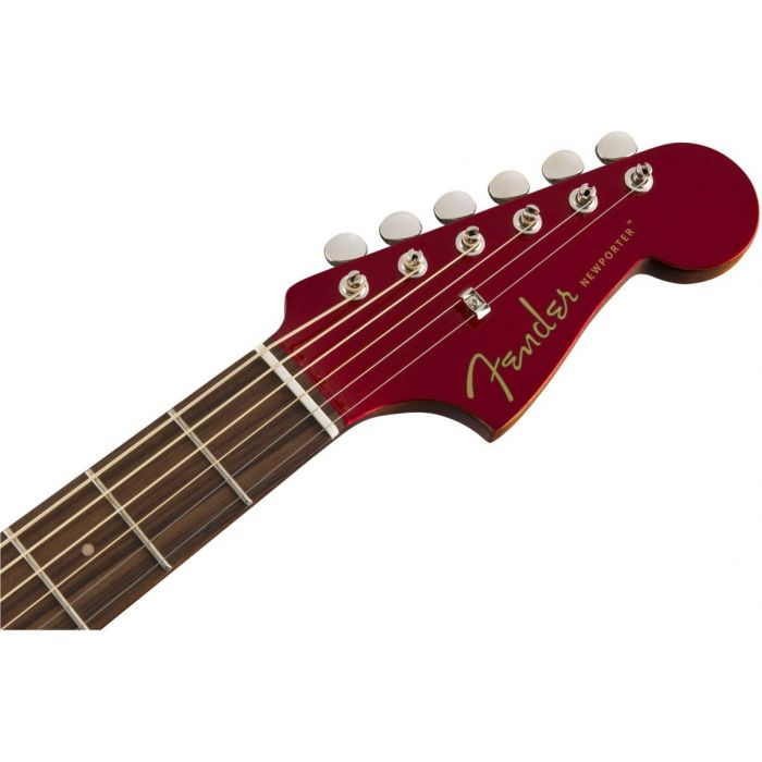 Front view of the headstock on a Fender Newporter Classic Hot Rod Red Metallic