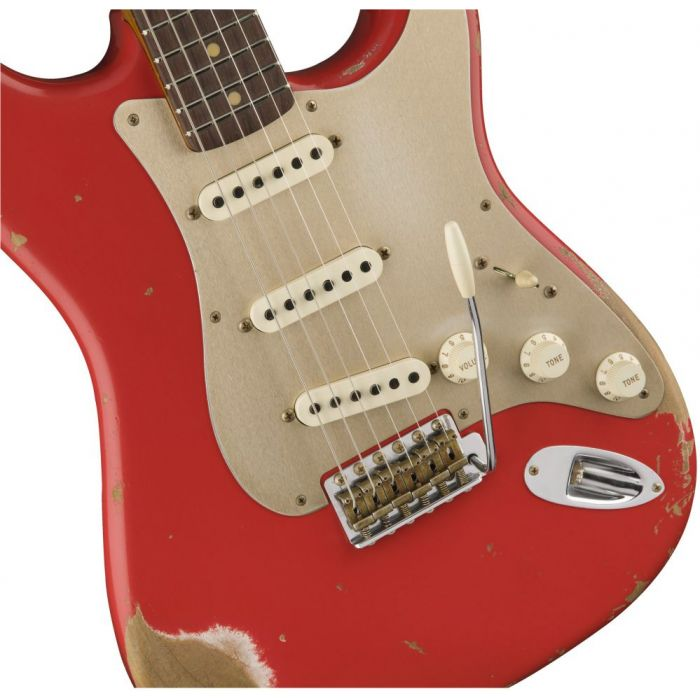 Front closeup view of a Fender Custom Shop LE 59 Strat Heavy Relic Aged Fiesta Red