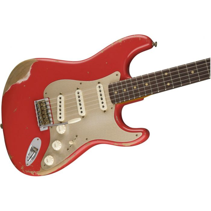 Front angled view of a Fender Custom Shop LE 59 Strat Heavy Relic Aged Fiesta Red