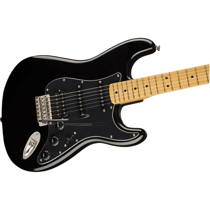 Front closeup view of a Squier Classic Vibe 70s Stratocaster HSS MN Black