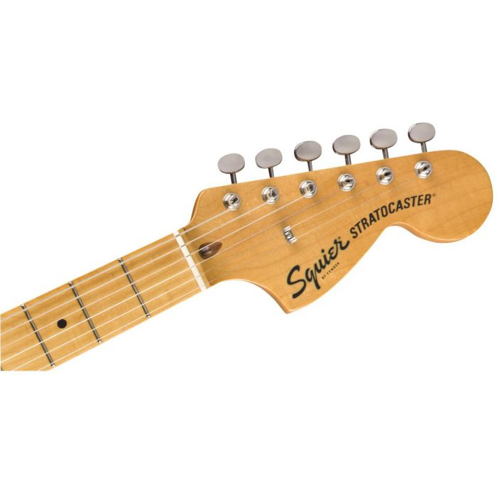 Front view of the headstock on a Squier Classic Vibe 70s Stratocaster HSS MN Black