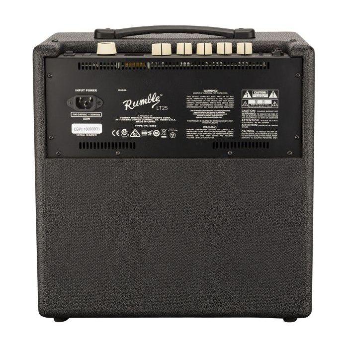 Full rear view of a Fender Rumble LT25 Bass Combo Amplifier