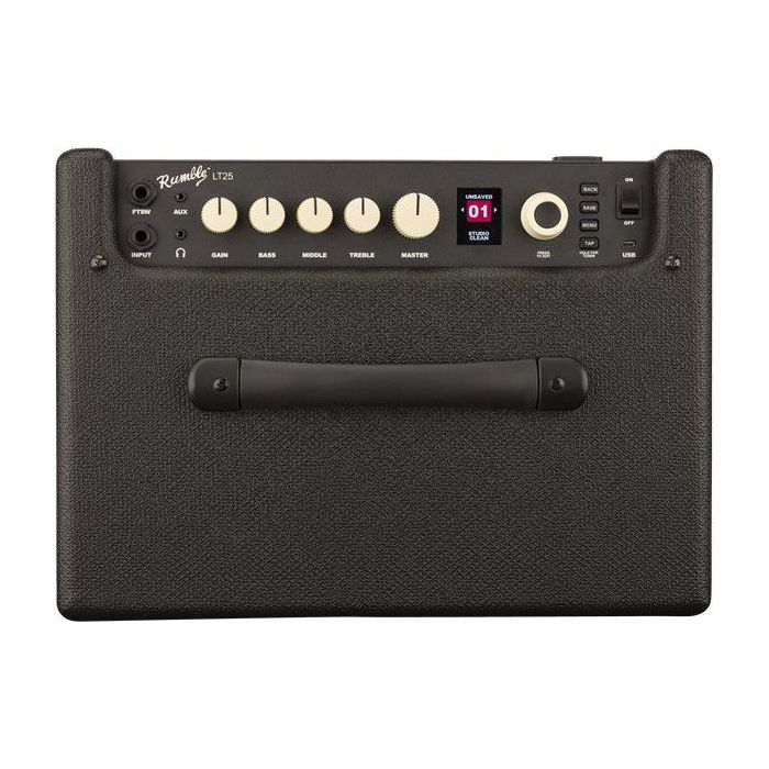 Control panel view of a Fender Rumble LT25 Bass Combo Amplifier