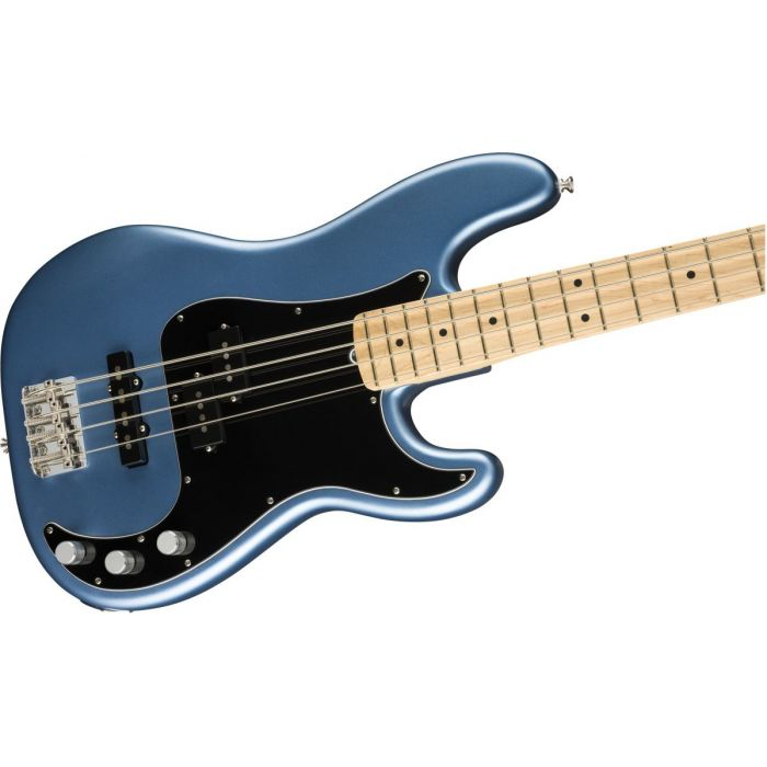 Front angled view of a Fender American Performer Precision Bass Satin Lake Placid Blue