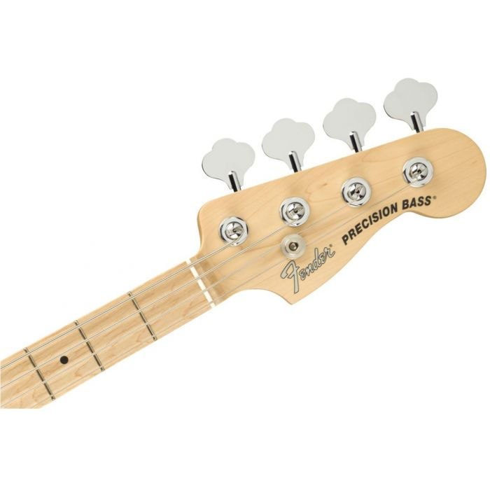 Front view of the headstock on a Fender American Performer Precision Bass Satin Lake Placid Blue