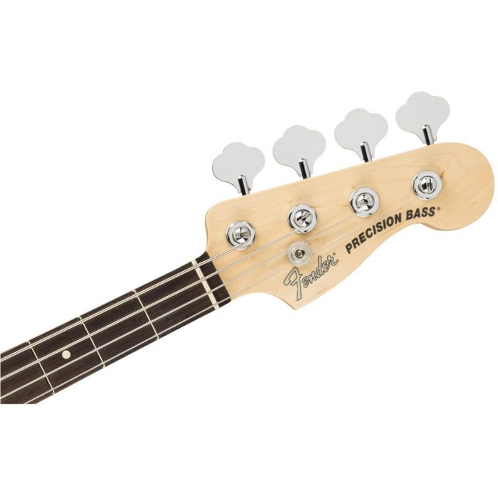 Front view of the headstock on a Fender American Performer Precision Bass Arctic White
