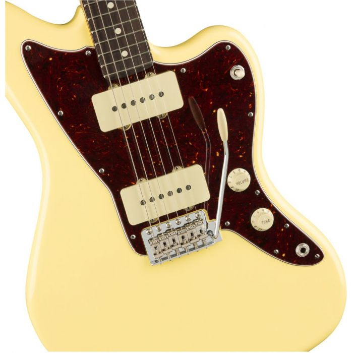 Front closeup of a Fender American Performer Jazzmaster Vintage White