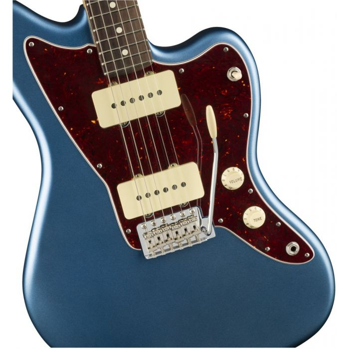 Closeup front view of a Fender American Performer Jazzmaster Satin Lake Placid Blue