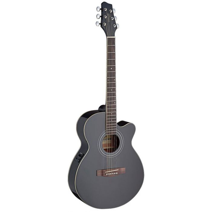 Full frontal image of a Stagg SA40MJCFI-BK Mini-Jumbo Electro-Acoustic Guitar in Black