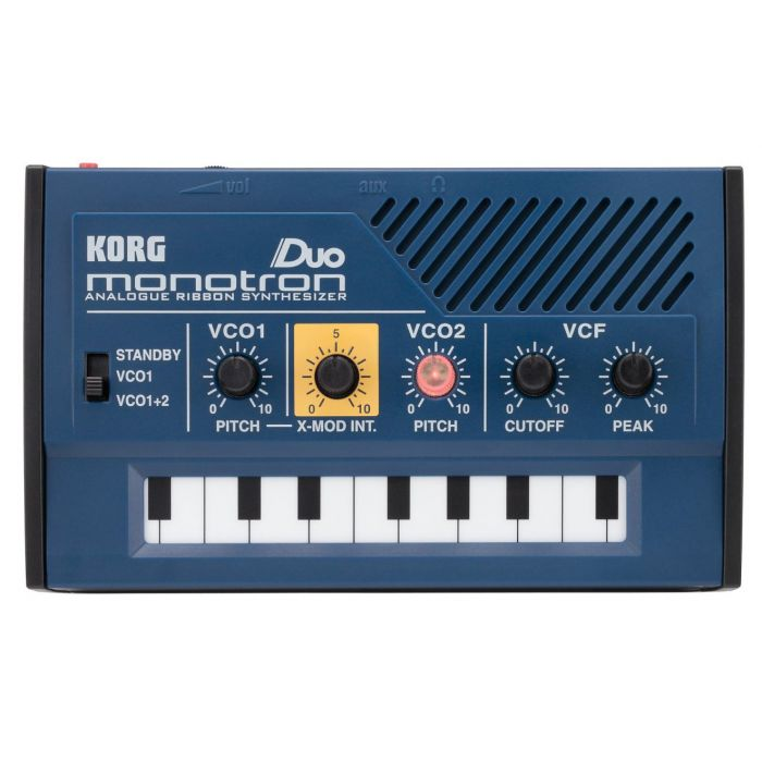Full front view of a Korg Monotron Duo Analogue Ribbon Synthesizer