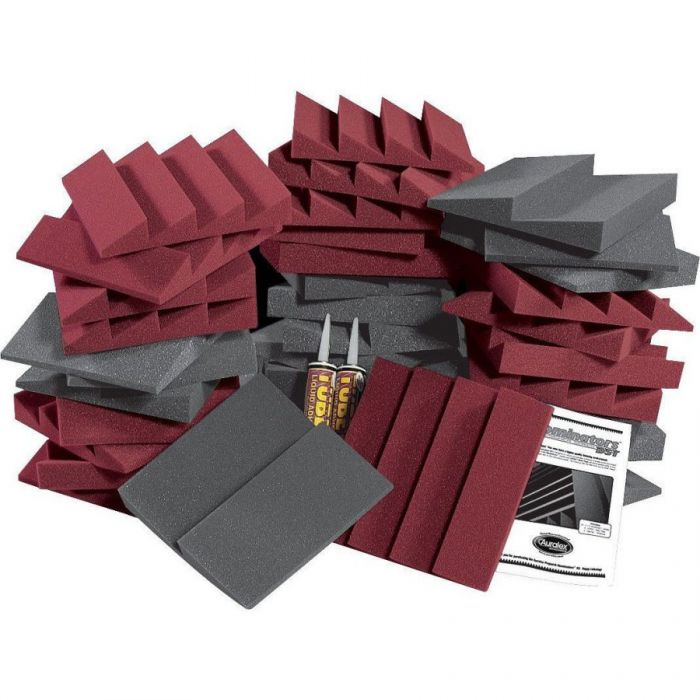 Full view of an Auralex D36-DST Roominator Kit in Charcoal / Burgundy (36 Piece)
