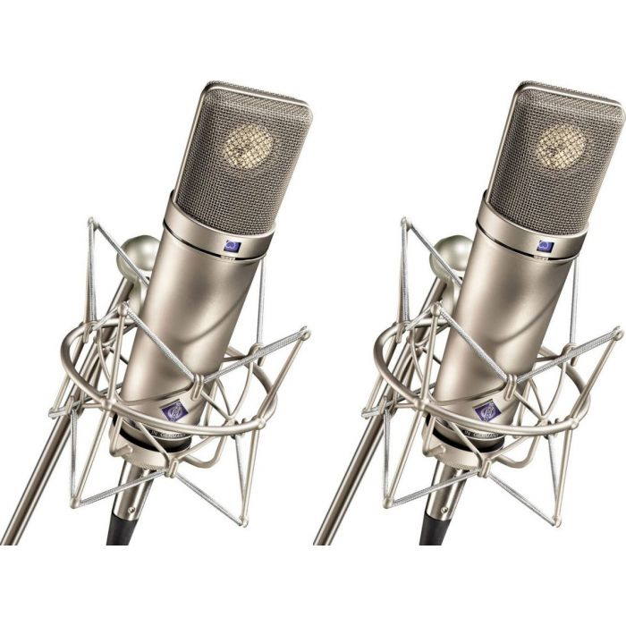 Full view of a Neumann U 87 AI Stereo Set Microphone in Nickel
