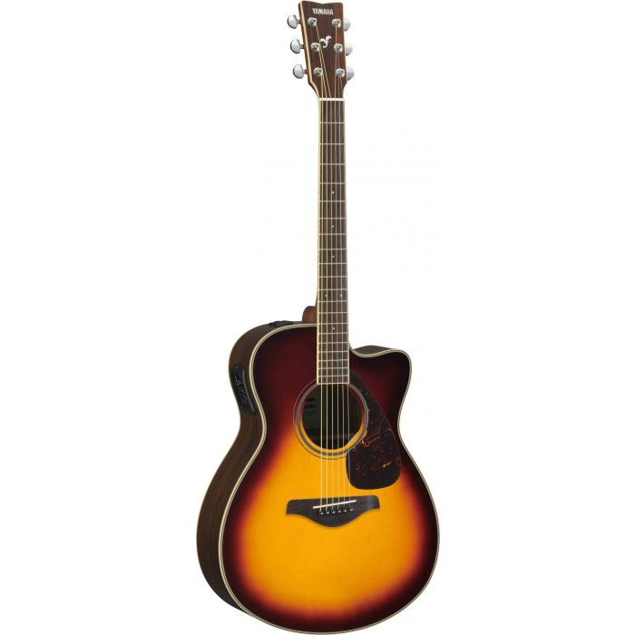 Full front view of a Yamaha FSX830C Acoustic in Brown Sunburst