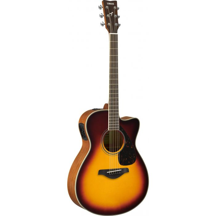 Full front view of a Yamaha FSX820C Acoustic in Brown Sunburst