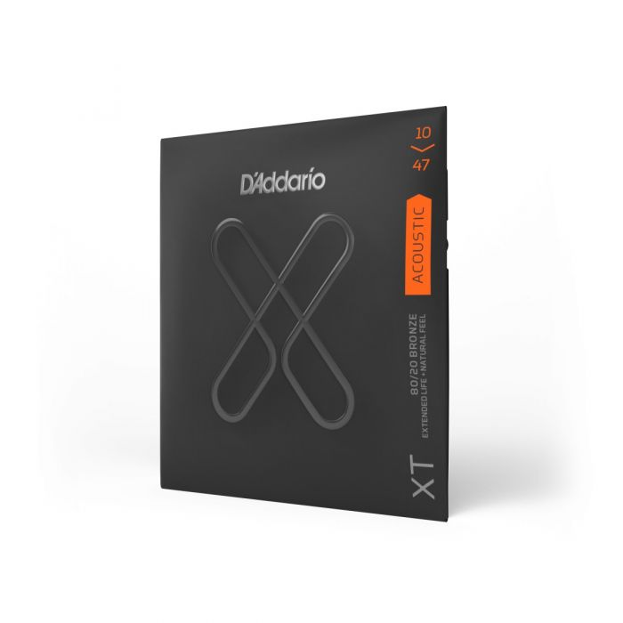 Angled View of D'Addario XT 80/20 Bronze Extra Light Acoustic Guitar Strings 11-52