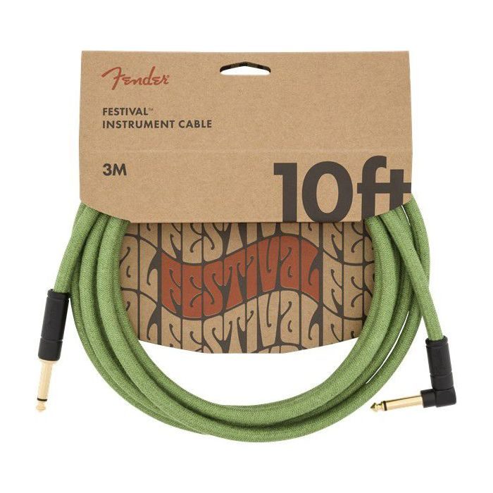 Full packaged view of a Fender 10' Angled Festival Cable Pure Hemp Green