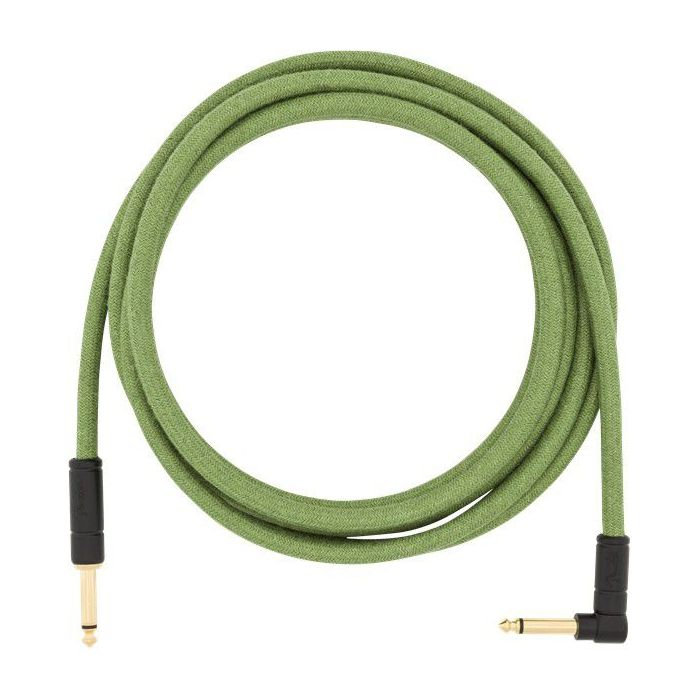 Full unpackaged view of a Fender 10' Angled Festival Cable Pure Hemp Green