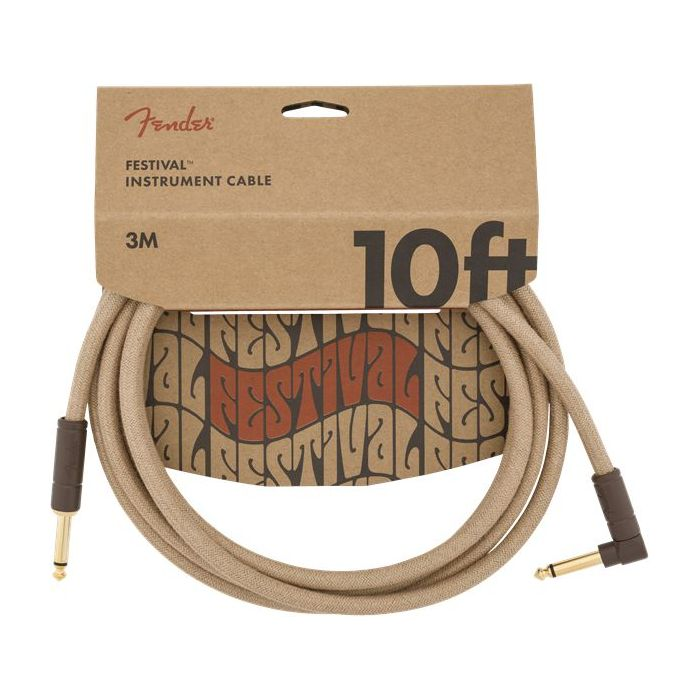 Fender Festival Angled Instrument Cable 10ft Pure Hemp Natural