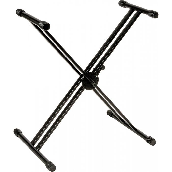 Full view of a Quiklok QL-646 Double Braced Double Tier Keyboard Stand Black