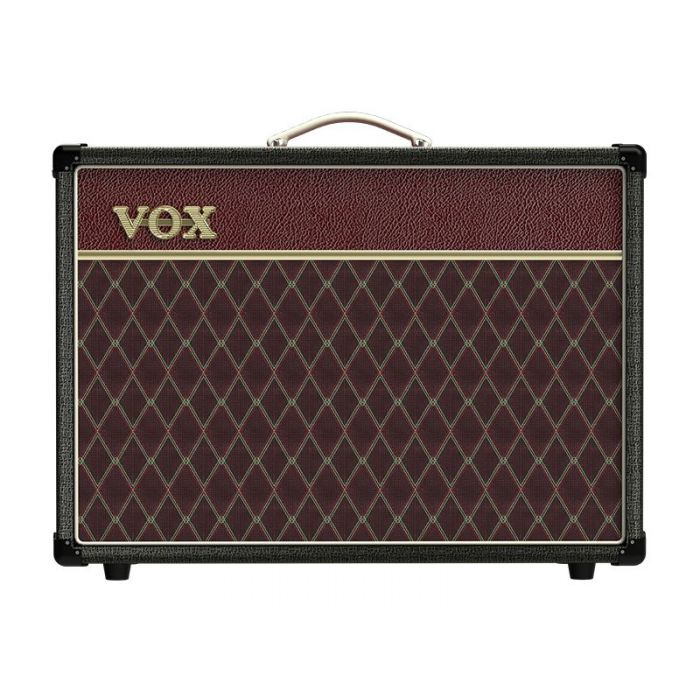 Full frontal view of a limited edition Vox AC15C1 15w Combo Amp Two Tone Black Maroon