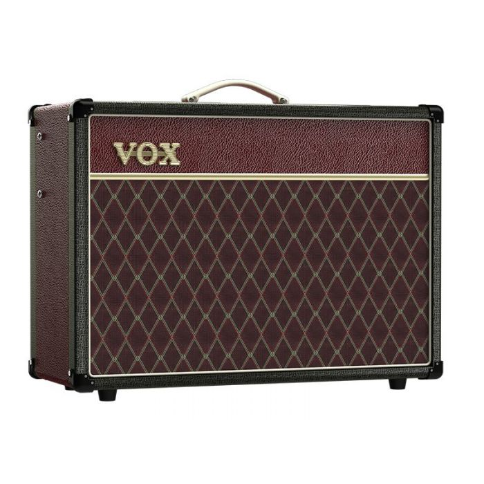 Front right angled view of a limited edition Vox AC15C1 15w Combo Amp Two Tone Black Maroon