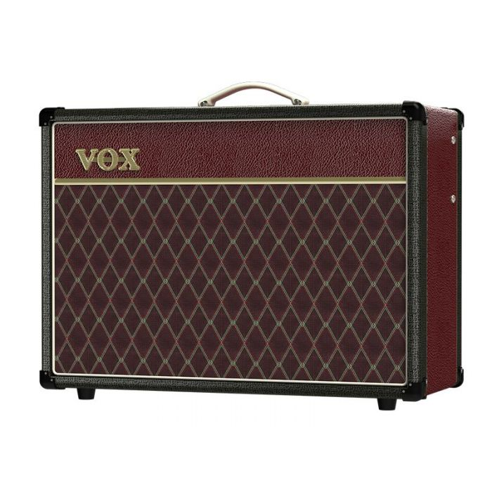 Front left angled view of a limited edition Vox AC15C1 15w Combo Amp Two Tone Black Maroon