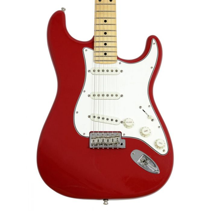 Closeup front view of the body on a Fender Custom Shop Postmodern Strat LCC MN Dakota Red